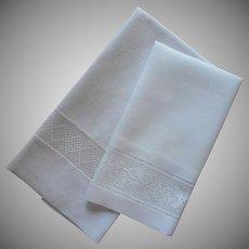 Antique Towels Filet Lace Insertion At Hems 2 Towel