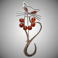 Sterling Silver Amber Cat Pin Figural Vintage