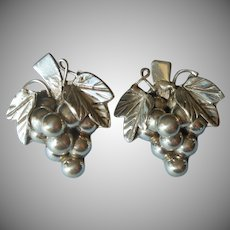 Big Sterling Silver Grapes Clusters Earrings Vintage Mexico Signed