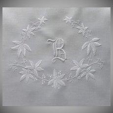 Monogram B Antique Linen Layover Sham Hand Embroidered Leaves