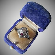 Antique Lion Ring Sterling Silver Pink Faux Ruby Mouth Eyes 6