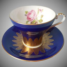 Aynsley Corset Cup Saucer Blue Lacy Gold Pink Rose Vintage English Bone China