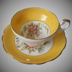 Foley English Bone China Vintage Cup Saucer Bright Yellow Signed A. Taylor