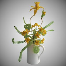 French Beaded Flowers Arrangement Vintage Yellow In Limoges Pitcher