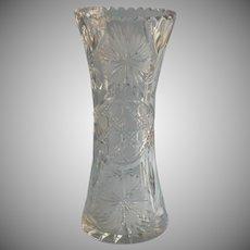 Antique Cut Glass Vase American Brillant Period Classic 9.75 Inch Circa 1900