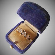 Vermeil Sterling CZ Ring 5.5 Faux Diamonds Faux Sapphires Vintage 90s