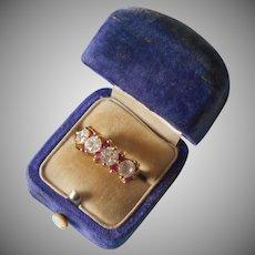 Vermeil Sterling CZ Ring 5.5 Faux Diamonds Faux Pink Sapphires Vintage 90s