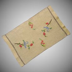Little Tray Cloth Vintage Yellow Linen Hand Embroidery Birds