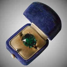 10K Gold Filled Ring Big Round Green Glass Stone Vintage 8.5