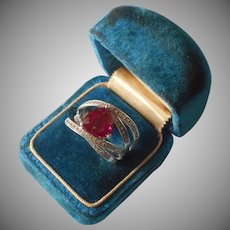 Sterling Silver Ring Trillion Cut Faux Pink Sapphire Wrap 8