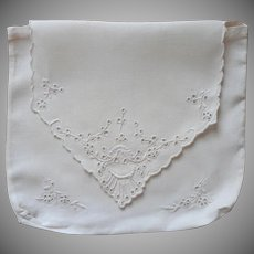 Antique Hankie Pouch Stockings Hand Embroidered Linen Cutwork
