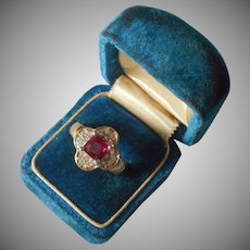 Fashion Ring Faux Pink Sapphire Quatrefoil Pave Rhinestones 7.5