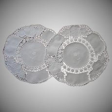 Lamp Doilies Pair Vintage Cotton Hand Embroidery Crocheted Lace
