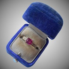 Vermeil Ring Faux Pink Sapphite Solitaire Square 7.5 Sterling Silver