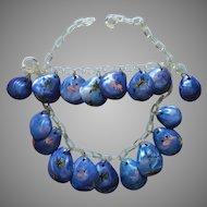 Celluloid Sea Shell Vintage Necklace Bracelet Bright Blue Worn Painted