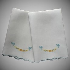 ca 1920 Pair Hand Towels Antique Linen Blue Hand Embroidery