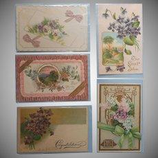 Antique Post Cards Postcards5 All Purple Lilacs Pansies Violets