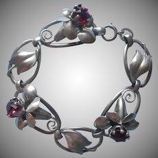 1940s Sterling Silver Bracelet Flower Links Red Stones Vintage