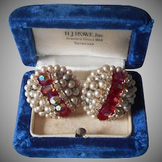 Vendome Earrings Vintage Clip Red AB Crystal Beads Faux Pearl