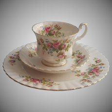 Royal Albert Moss Rose Trio Vintage English Bone China Cup Saucer Plate