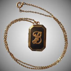 Monogram B Locket On Chain Necklace Vintage 1930s Black