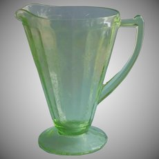 Depression Glass Pitcher Green Jeannette Poinsettia Clematis Vintage
