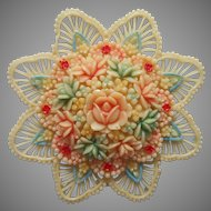 Celluloid Pin Vintage 1930s Lacy Floral Tinted