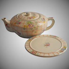 1930s Mikori Ware Teapot Tea Trivet Vintage Plaid Flowers Platinum Trim