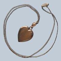 Monogram C.D. 1940s Heart Locket Vintage Gold Filled On Chain Necklace