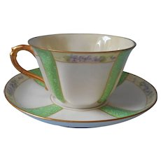 ca 1920 Haviland Limoges Cup Saucer Hand Painted Violets Green Purple