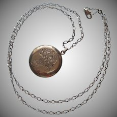 1940s Locket Basket Of Flowers Engraving Vintage On Chain Necklace