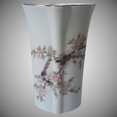 Yamaji Vase Vintage Japan Birds Plum Tree Flowers Porcelain Pink Purple