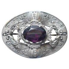 Sash Pin Antique Purple Glass Stone Silver Tone Finish Metal