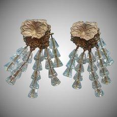 Wired Crystal Brass Earrings Vintage Dangle Fringe Clip Leaf