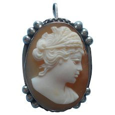 Italian Cameo Demeter Ceres Vintage 800 Silver Carved Shell