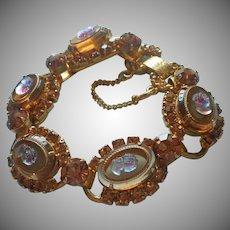 Juliana Bracelet Glass Cameo Topaz Color Rhinestones Vintage