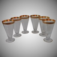 Rambler Rose Gold Encrusted Ice Tea Glasses Etched Tiffin Vintage Set 6 Footed