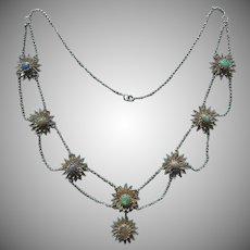 Edwardian Festoon Necklace Sterling Silver Filigree Opals Antique