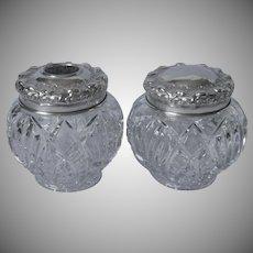 Antique Vanity Jars Pair Pressed Glass Nickel Silver Lids