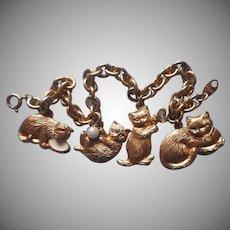 Cat Charms Bracelet Vintage Avon Cats Charm