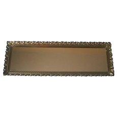 Perfume Tray Vintage Long Narrow Vanity Mirror Ornate Rim Metal