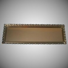 Perfume Tray Vintage Long Narrow Vanity Mirror Ornate Rim Metal