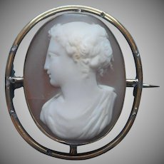 Antique Cameo Pin Fine Carved Shell But Frame Needs TLC