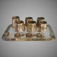 Abalone Shell Alpaca Silver Vintage Tray Stemmed Shot Glasses Set Mexico