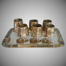 Abalone Shell Alpaca Silver Vintage Tray Stemmed Shot Glasses Set Mexico