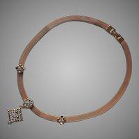 1970s Mesh Necklace Rhinestone Drop Vintage Avon