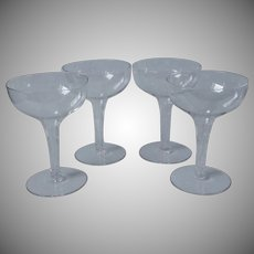 Hollow Stem Cut Glass Cocktail 4 Ounce Glasses Champagne Etc