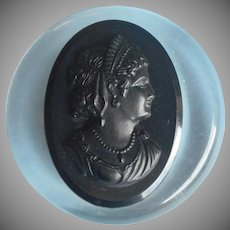 Lucite Pin Black Hard Plastic Cameo Mount Vintage
