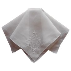 Monogram C Hankie Vintage Hand Embroidered Linen All White