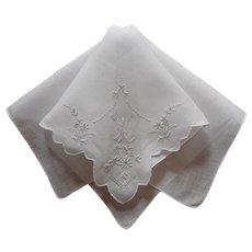 Fine Hankie Vintage Linen Hand Embroidered Unused